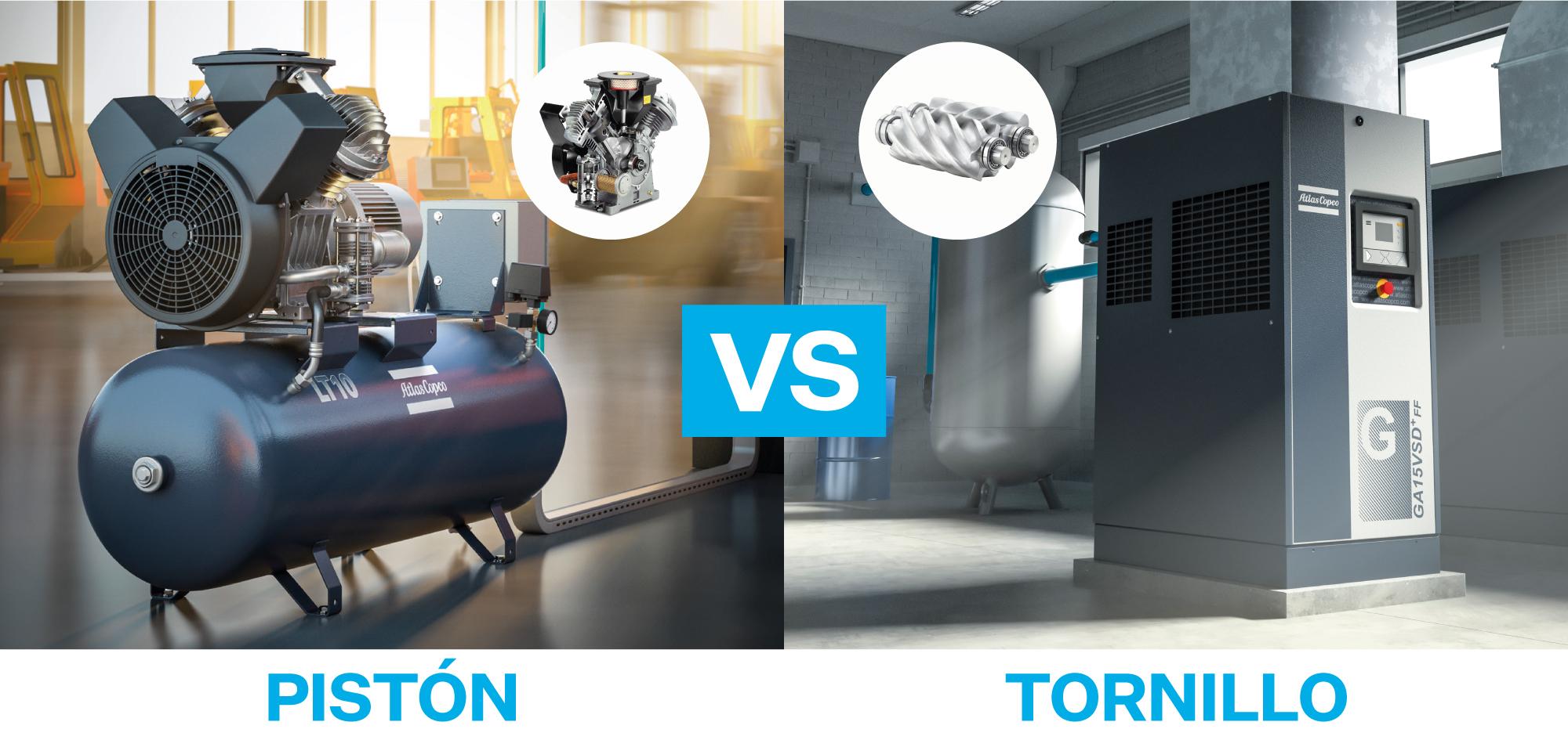 compresor de piston versus compresor de tornillo